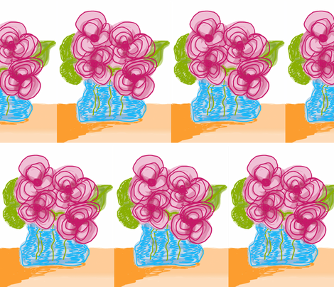 Pink Flowers in Blue Vase fabric by susaninparis on Spoonflower - custom fabric