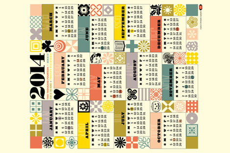 2014 Tea Towel Calendar fabric by pennycandy on Spoonflower - custom fabric