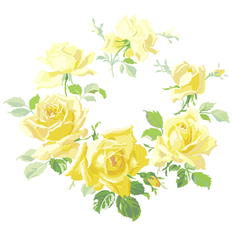 Caroline Yellow Rose Wreath fabric by lilyoake on Spoonflower - custom fabric