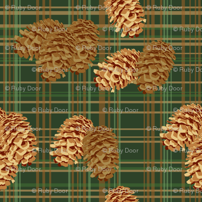 Pinecones on Plaid (large)
