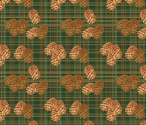 Pinecones on Plaid (small) fabric by rubydoor on Spoonflower - custom fabric