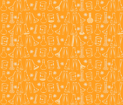 Chemistry Lab Orange White-ch fabric by nocodazole on Spoonflower - custom fabric