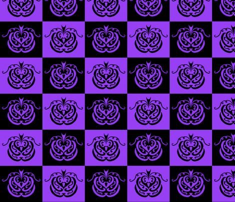 pumpkin checkers (black and purple) fabric by ladyleigh on Spoonflower - custom fabric