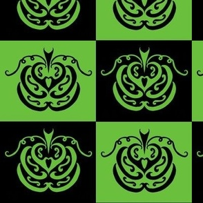 pumpkin checkers (black and green)