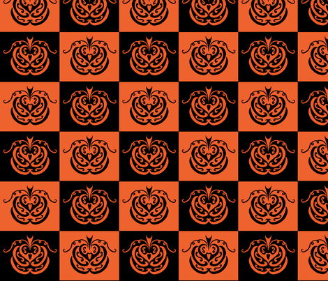 pumpkin checkers (black and orange) fabric by ladyleigh on Spoonflower - custom fabric