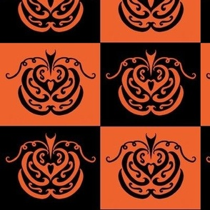 pumpkin checkers (black and orange)