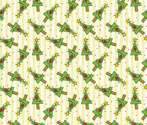 Smiling Christmas Trees Yellow fabric by donnamarie on Spoonflower - custom fabric
