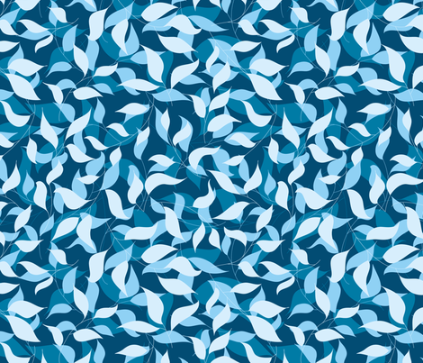 Blue leaves fabric by stewsha on Spoonflower - custom fabric