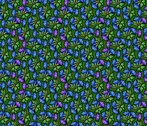 little blue and purple morning glories fabric by hannafate on Spoonflower - custom fabric