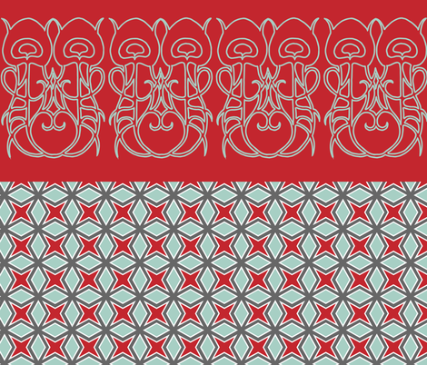 FQ mix red and aqua fabric by stacaroni on Spoonflower - custom fabric