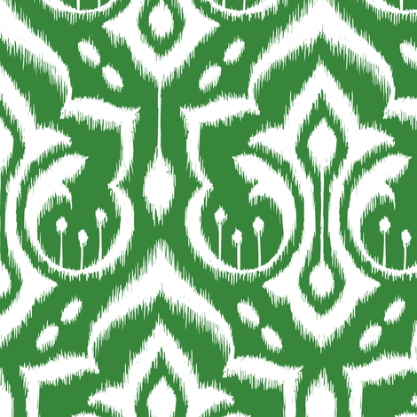 Ikat Damask - Evergreen fabric by pattysloniger on Spoonflower - custom fabric