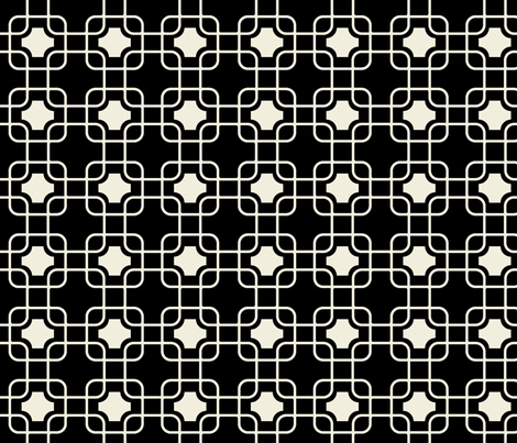 hollywood trellis black and whipser fabric by ninaribena on Spoonflower - custom fabric