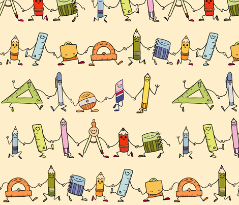 Dancing School supplies fabric by padeshahoo on Spoonflower - custom fabric