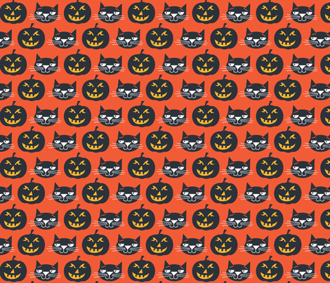 Black Cat fabric by edward_elementary on Spoonflower - custom fabric