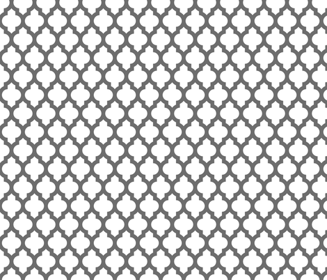 Moroccan quatrefoil lattice - gray on white fabric by spacefem on Spoonflower - custom fabric