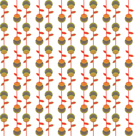 Thistle - red,black, green and yellow fabric by akwaflorell on Spoonflower - custom fabric