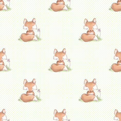 Woodland Nursery Fox with Green Dots fabric by risarocksit on Spoonflower - custom fabric