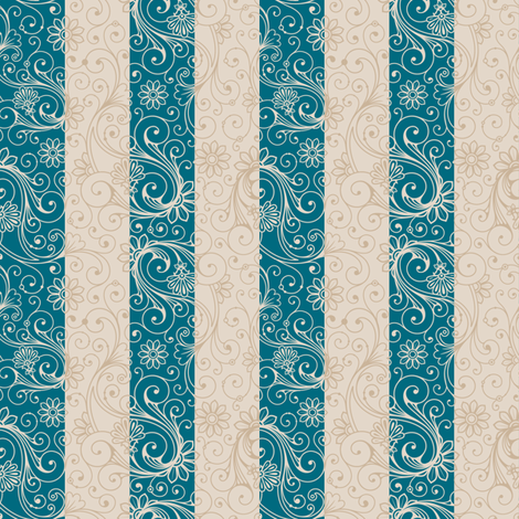 Teal and Taupe Floral Stripes fabric by risarocksit on Spoonflower - custom fabric