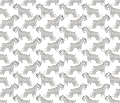 Mini Schnauzers pose fabric by rusticcorgi on Spoonflower - custom fabric