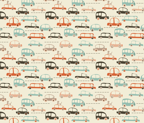 cartoon cars in vector fabric by anastasiia-ku on Spoonflower - custom fabric