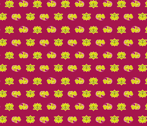 Lotus and Elephants Green on Dk Pink BG fabric by thelazygiraffe on Spoonflower - custom fabric