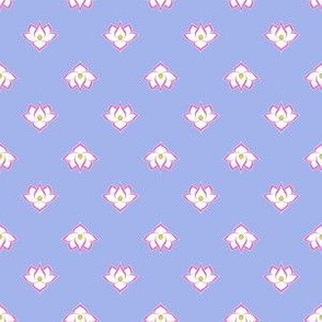 Dot Lotus Pink on Blue BG