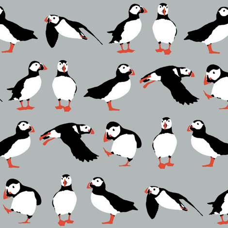 just puffins silver fabric by scrummy on Spoonflower - custom fabric