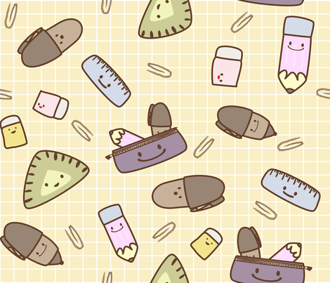 cute stationery fabric by cutekotori on Spoonflower - custom fabric