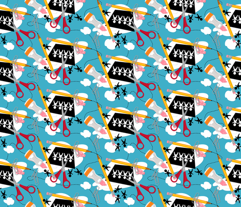 Snips n' splats ~ Blue fabric by retrorudolphs on Spoonflower - custom fabric