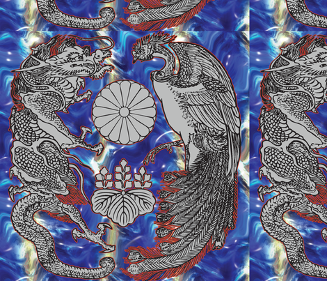 Dragon_and_Heavenly_Bird fabric by craftyscientists on Spoonflower - custom fabric
