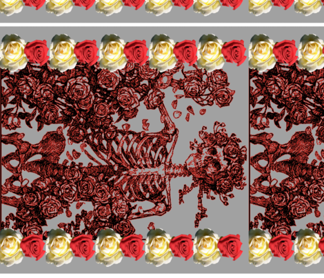 Death_Adorned_with_Roses fabric by craftyscientists on Spoonflower - custom fabric