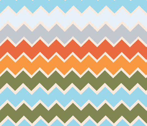 Mountain Lake Landscape - In Chevron  fabric by beary_organics on Spoonflower - custom fabric