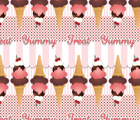 Pink Ice Cream Cones fabric by risarocksit on Spoonflower - custom fabric