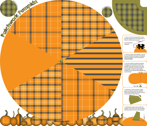 Patchwork Pumpkin Plushie fabric by jwitting on Spoonflower - custom fabric