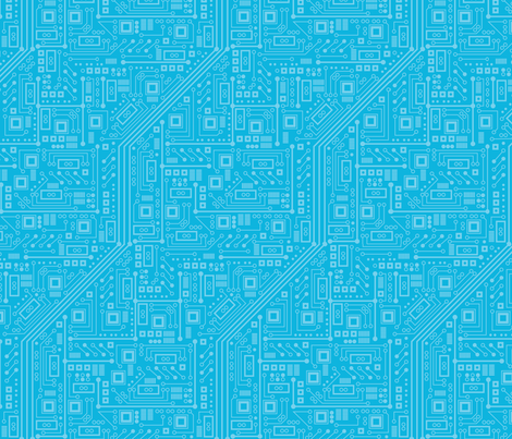 Robotika Circuit Board (Blue) fabric by robyriker on Spoonflower - custom fabric