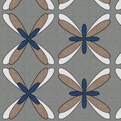 Abstract Dragonfly Floral (blue/white)