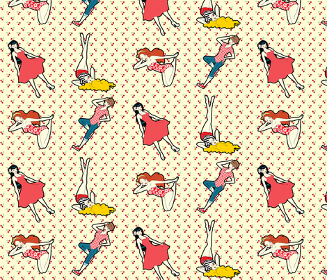 Retro Pinup Girls with Cherry Backdrop on Cream fabric by risarocksit on Spoonflower - custom fabric