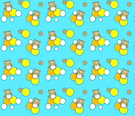 Owls on Aqua fabric by freshstitches on Spoonflower - custom fabric
