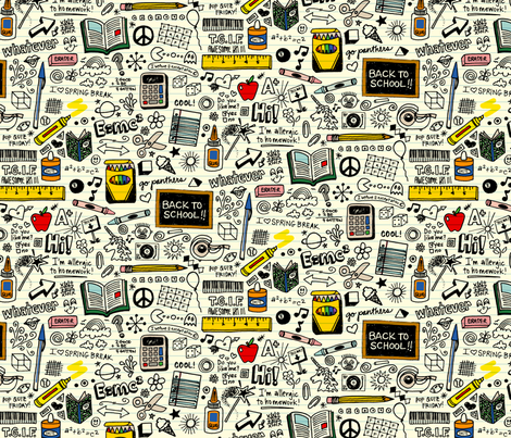 Doodled School Supplies fabric by pennycandy on Spoonflower - custom fabric