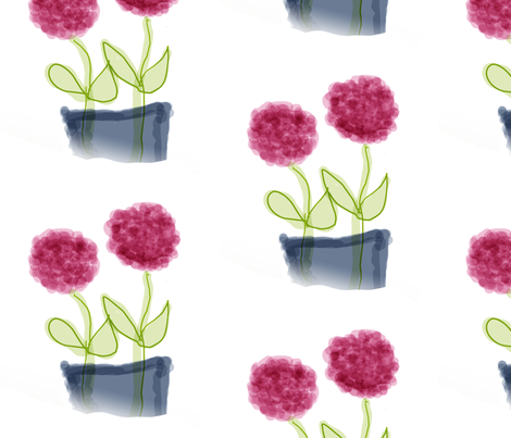 Pink Flowers in Bluegray Vase fabric by susaninparis on Spoonflower - custom fabric