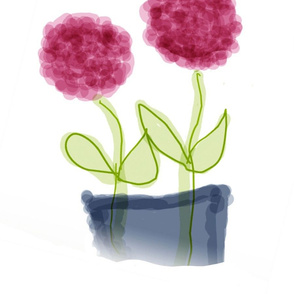 Pink Flowers in Bluegray Vase