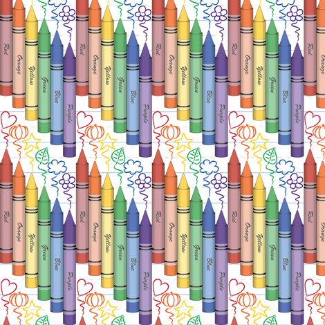 Colorful Crayons fabric by jjtrends on Spoonflower - custom fabric