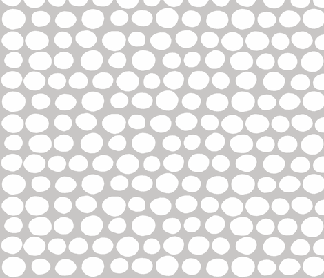 Wobbly Sweet Peas (white & dove grey) fabric by pattyryboltdesigns on Spoonflower - custom fabric