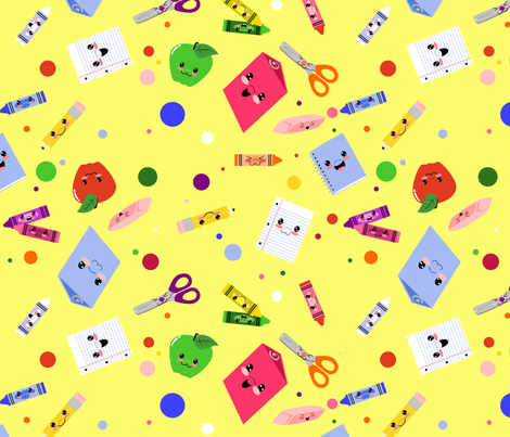 School supplies lyddiedoodles spoonflower for Designer fabric suppliers