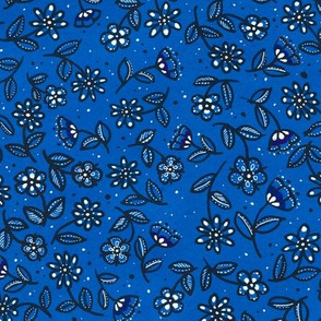 Blue Doodle Wildflowers