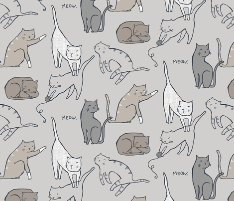 Meow Mixer (Neutral) Large Scale fabric by leanne on Spoonflower - custom fabric