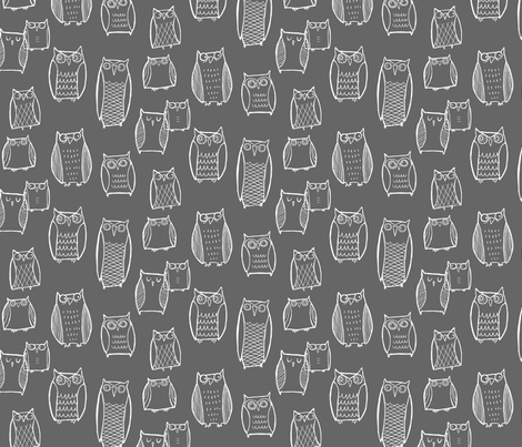 """Little"" Night Owl Gray/White fabric by leanne on Spoonflower - custom fabric"