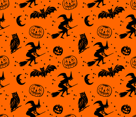Bats and Jacks ~ Black on Orange fabric by retrorudolphs on Spoonflower - custom fabric