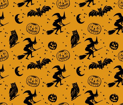 Bats and Jacks ~ Black on Antique Gold fabric by retrorudolphs on Spoonflower - custom fabric