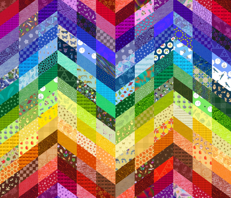 rainbow zigzag cheater quilt fabric by weavingmajor on Spoonflower - custom fabric